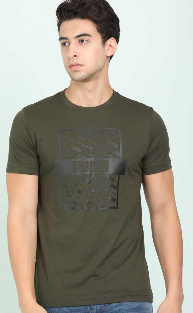 Typography Men Round Neck Dark Green T-Shirt - Mohcky.com