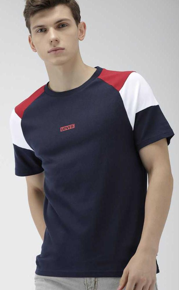 Solid Men Round Neck Dark Blue T-Shirt