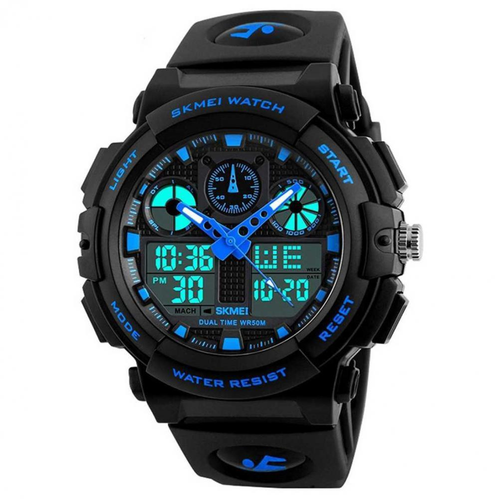 Analog Digital Skmei Analogue Digital Black Dial Black Strap Watch