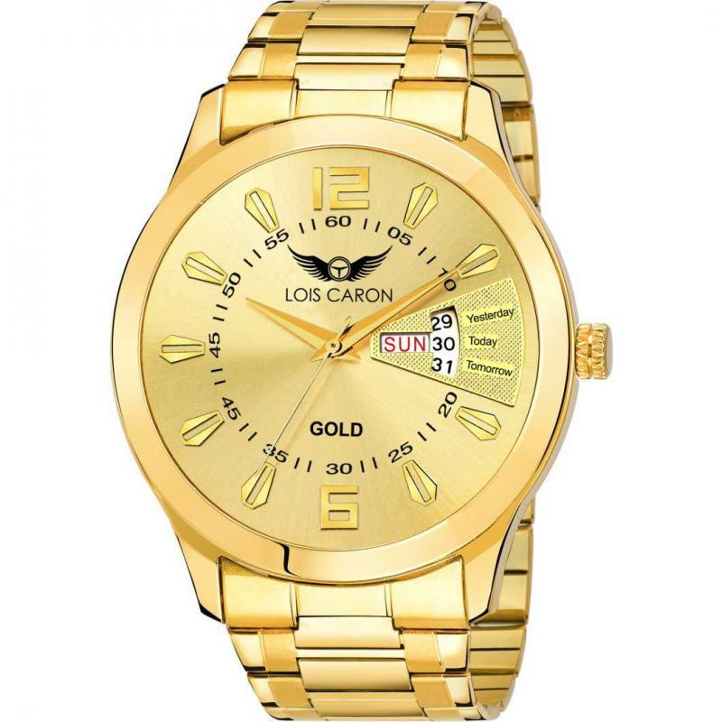 LCS-8404 ORIGINAL GOLD PLATED DAY & DATE FUNCTIONING Analog Watch - For Men